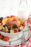 Corn flakes and berry fruits Royalty Free Stock Photography