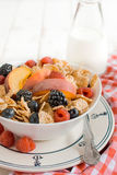 Corn flakes and berry fruits. On the bowl,selective focus Stock Photo