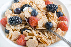 Corn flakes and berry fruits. Close up to corn flakes and berry fruits on the bowl,selective focus Royalty Free Stock Image