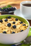 Corn Flakes with Blueberries Stock Photography