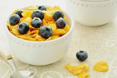 Corn Flakes with blueberries Stock Photos