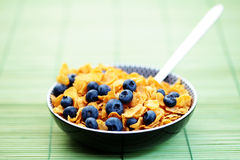 Corn flakes with blueberry fruits Royalty Free Stock Photography