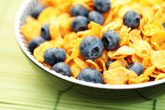Corn flakes with blueberry fruits Stock Photography