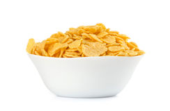 Corn flakes in a bowl royalty free stock image