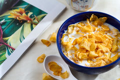 Corn flakes in the bowl for breakfast Stock Image
