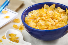 Corn flakes in the bowl for morning Royalty Free Stock Images