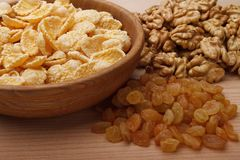 Corn flakes in bowl stock images
