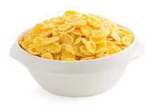 Corn flakes in bowl on white Stock Image