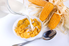 Corn flakes for breakfast Stock Images