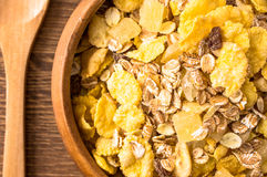 Corn flakes for breakfast in a bowl closeup Stock Photo