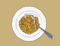 Corn flakes cereal ,sketch vector. Stock Image