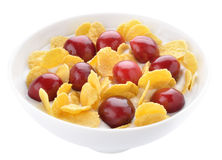 Corn flakes and cherries with yogurt Stock Image