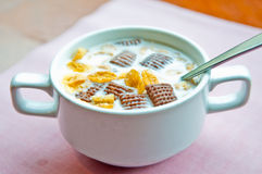 Corn flakes Chocolate and milk Royalty Free Stock Images
