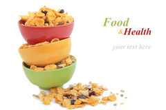 Corn flakes in colorful bowl Stock Photo