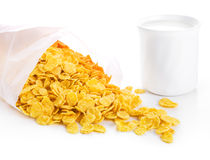 Corn flakes and cup of milk Royalty Free Stock Images