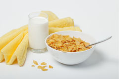 Corn flakes in deep plate Stock Images