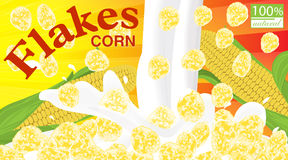 Corn flakes. Design for box. Milk pouring. Label for cereal pack. Age. Vector illustration Royalty Free Stock Photo