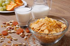 Corn flakes with dried fruit Stock Images