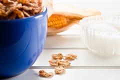 Corn-Flakes in einer blauen Schüssel Lizenzfreie Stockfotos