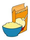 Corn-Flakes in einer Schüssel mit Müslischachtel. Lizenzfreies Stockbild
