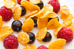 Corn flakes and fresh berries Stock Photo