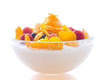 Corn flakes and fresh berries Stock Image