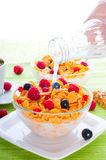 Corn flakes and fresh berries Royalty Free Stock Photos