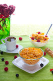 Corn flakes and fresh berries Royalty Free Stock Images