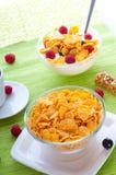 Corn flakes and fresh berries Stock Image
