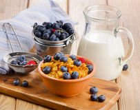 Corn flakes with fresh blueberries and milk Royalty Free Stock Photos