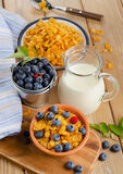 Corn flakes with fresh blueberries and milk Royalty Free Stock Photo
