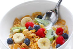 Corn flakes with fresh fruits and milk Royalty Free Stock Images