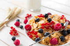 Corn flakes and fruit Stock Images