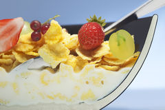 Corn flakes and fruit Stock Image