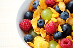 Corn flakes with fruits royalty free stock photo