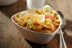 Corn flakes with fruits Stock Image
