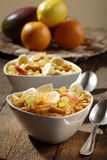 Corn flakes with fruits Stock Photo