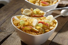 Corn flakes with fruits Royalty Free Stock Photography