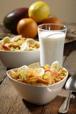 Corn flakes with fruits Stock Photography