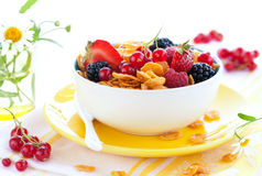 Corn flakes with fruits  and milk Stock Images