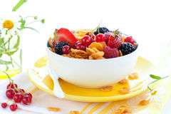 Corn flakes with fruits  and milk Stock Photos