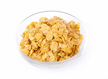 Corn flakes in a glass bowl Royalty Free Stock Image