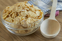 Corn flakes in a glass bowl Royalty Free Stock Photo