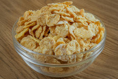Corn flakes in a glass bowl Royalty Free Stock Images