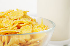 Corn flakes and glass of milk Royalty Free Stock Image