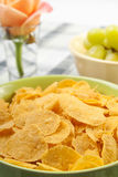 Corn flakes and green grapes Royalty Free Stock Photography