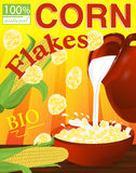 Corn Flakes In A Bowl. Milk Pouring From The Jug A Plate. Label Royalty Free Stock Photos