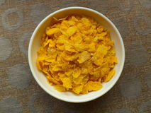 Corn flakes. Inside a plastic bowl Stock Image