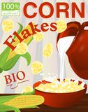Corn flakes label. Milk pouring from the jug a plate. Vector Stock Image