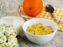 Corn flakes with milk Royalty Free Stock Image